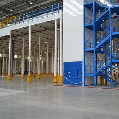 Distribution Warehouse Mezzanine Floor and Three Staircases